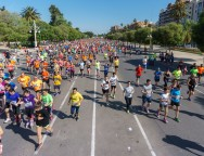 VALENCIA - MAY 15: unidentified group of happy runners paticipate in -Volta a Peu-, a popular race in Valencia on May 15, 2016 in Valencia, Spain