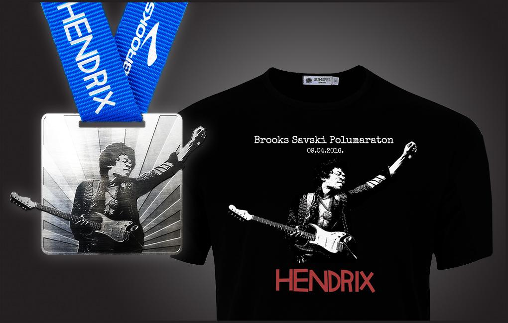 Medalja i majica Savskog Hendrix polumaratona