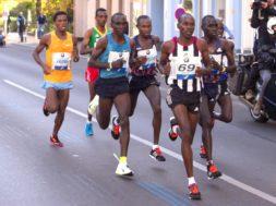 Berlin Germany – September 27 2015: leading group at Berlin Marathon 2015
