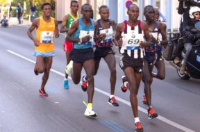 Berlin Germany – September 27 2015: leading group at Berlin Marathon 2015