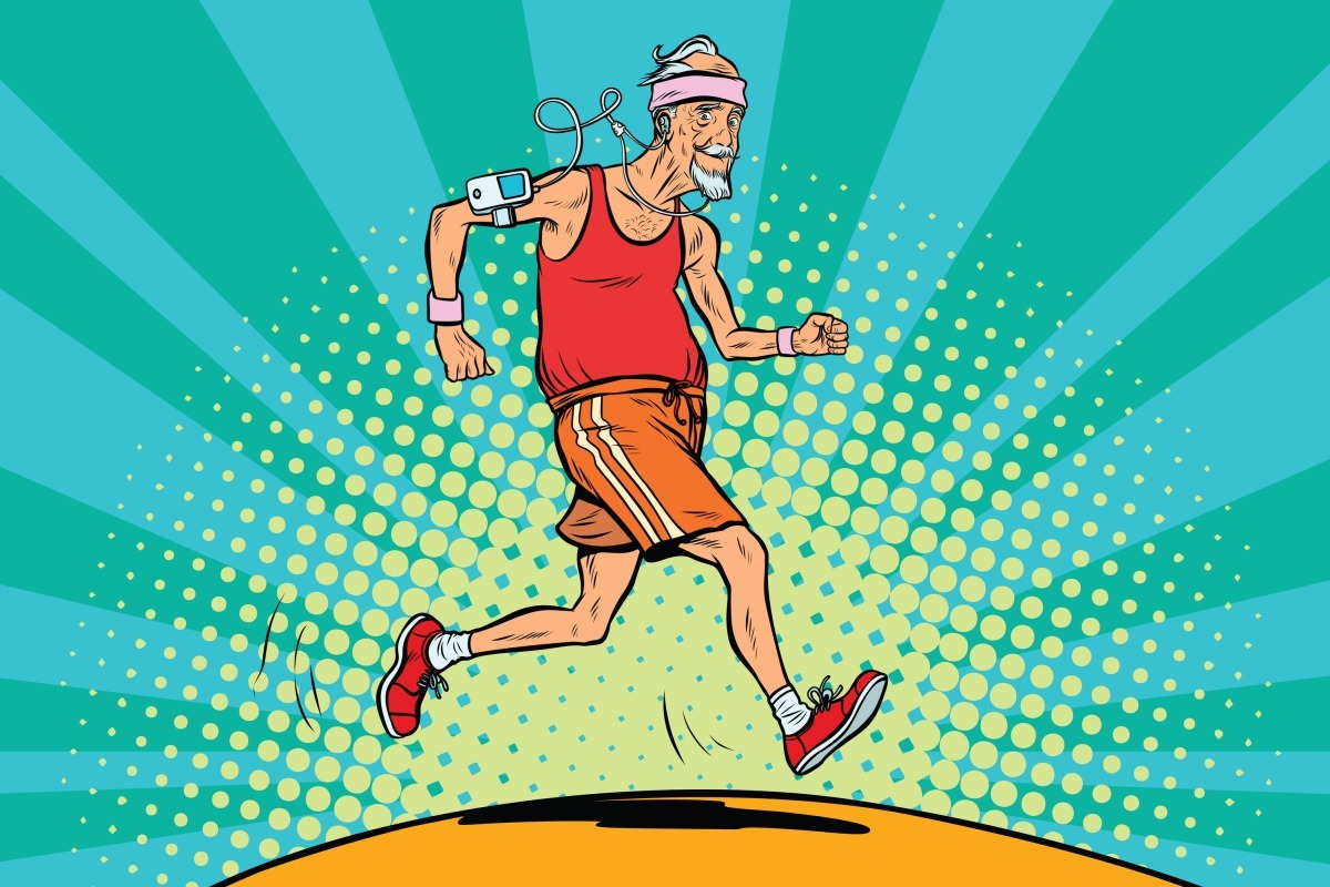 The old man runner, healthy lifestyle. Pop art retro vector illustration